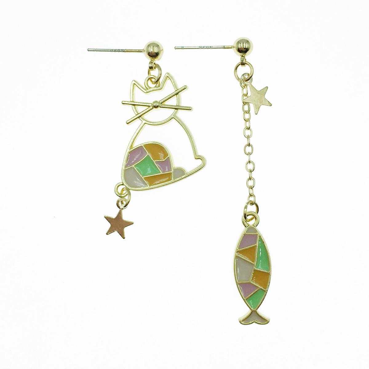 韓國 925純銀 魚 簍空貓咪 星星 垂墜感 耳針式耳環