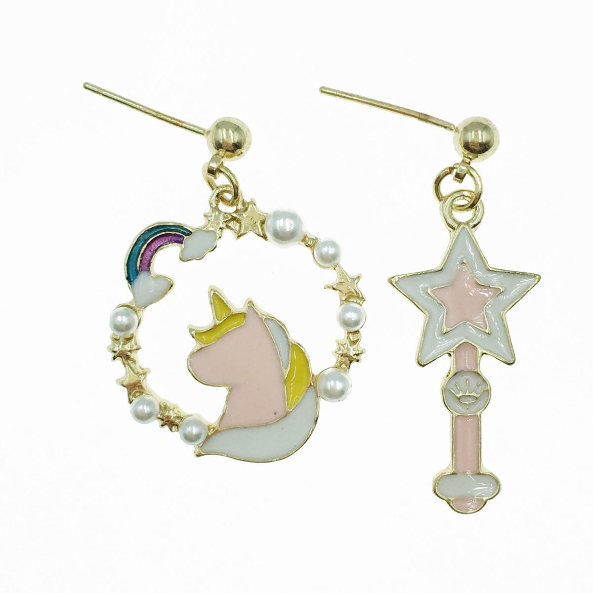 韓國 925純銀 飛馬 彩虹 珍珠 不對稱 垂墜感 耳針式耳環