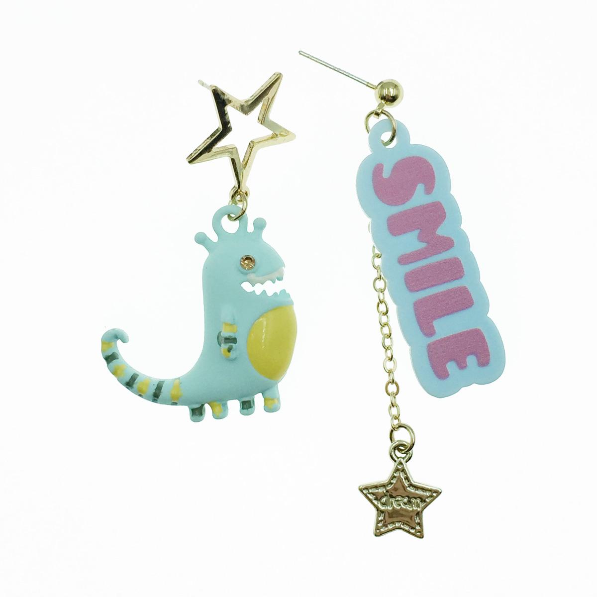 韓國 925純銀 恐龍 SMILE 星星 不對稱 垂墜感 耳針式耳環