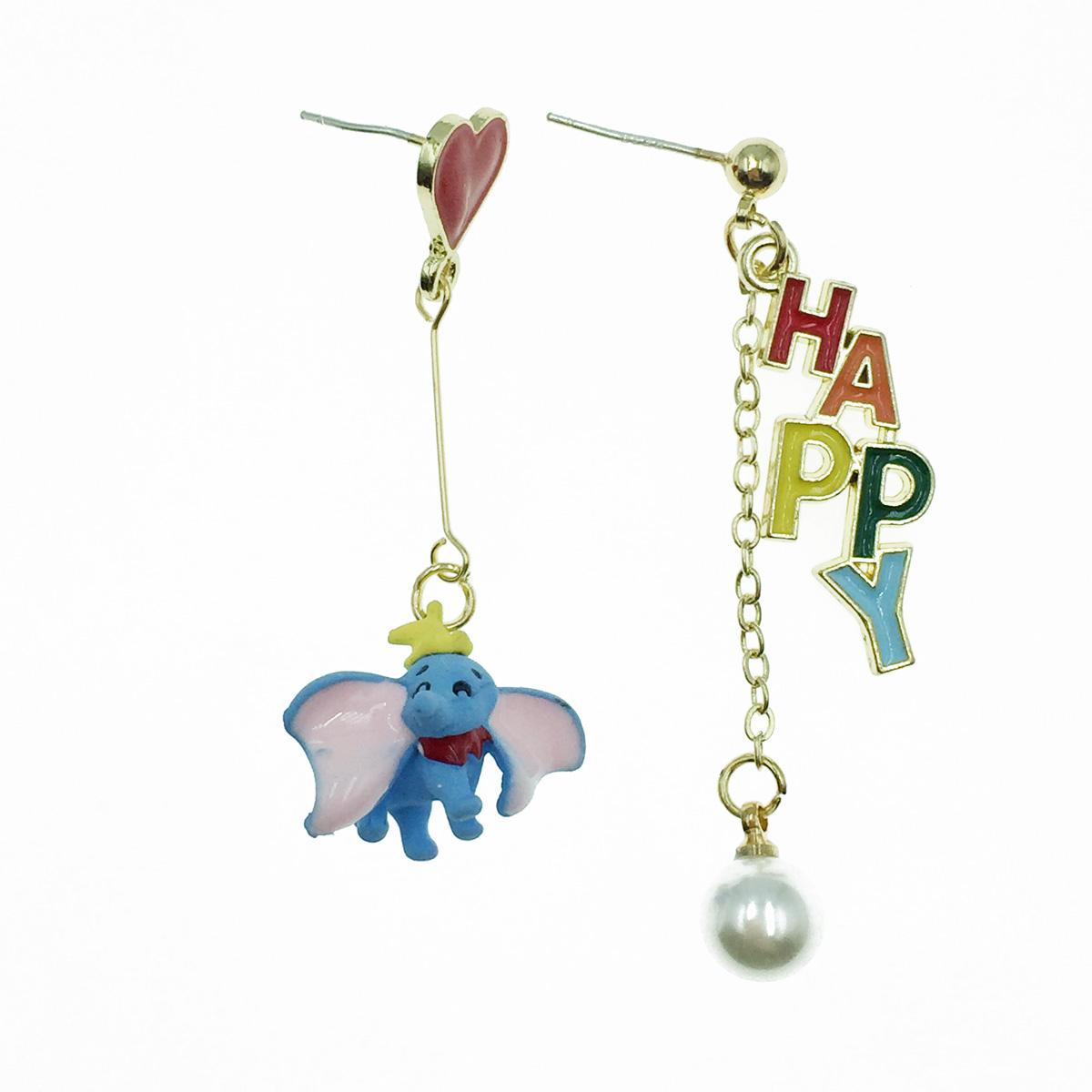 韓國 925純銀 小飛象 HAPPY 愛心 珍珠 垂墜感 耳針式耳環