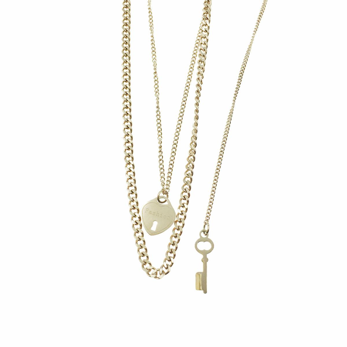 韓國 不銹鋼 英文 愛心鎖 鑰匙 鎖骨鍊 短鍊 項鍊 飾品