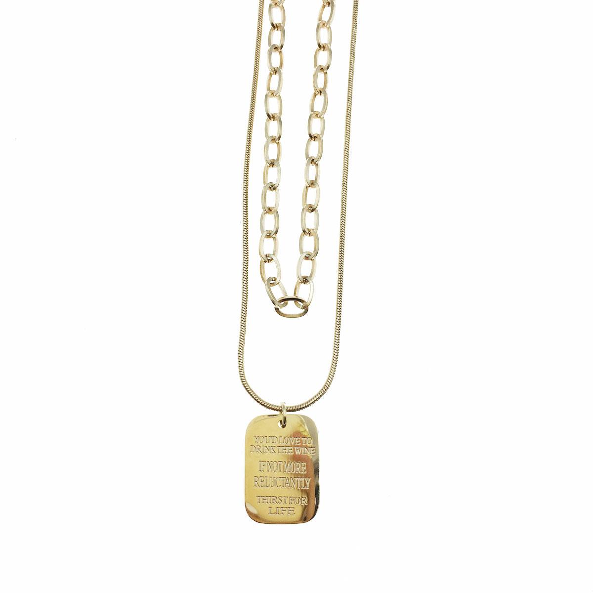 韓國 不銹鋼 英文 長方形 簡約 鎖骨鍊 短鍊 項鍊 飾品