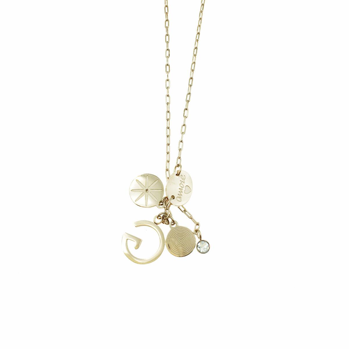 韓國 不銹鋼 水鑽 花 G 圓 鎖骨鍊 短鍊 項鍊 飾品
