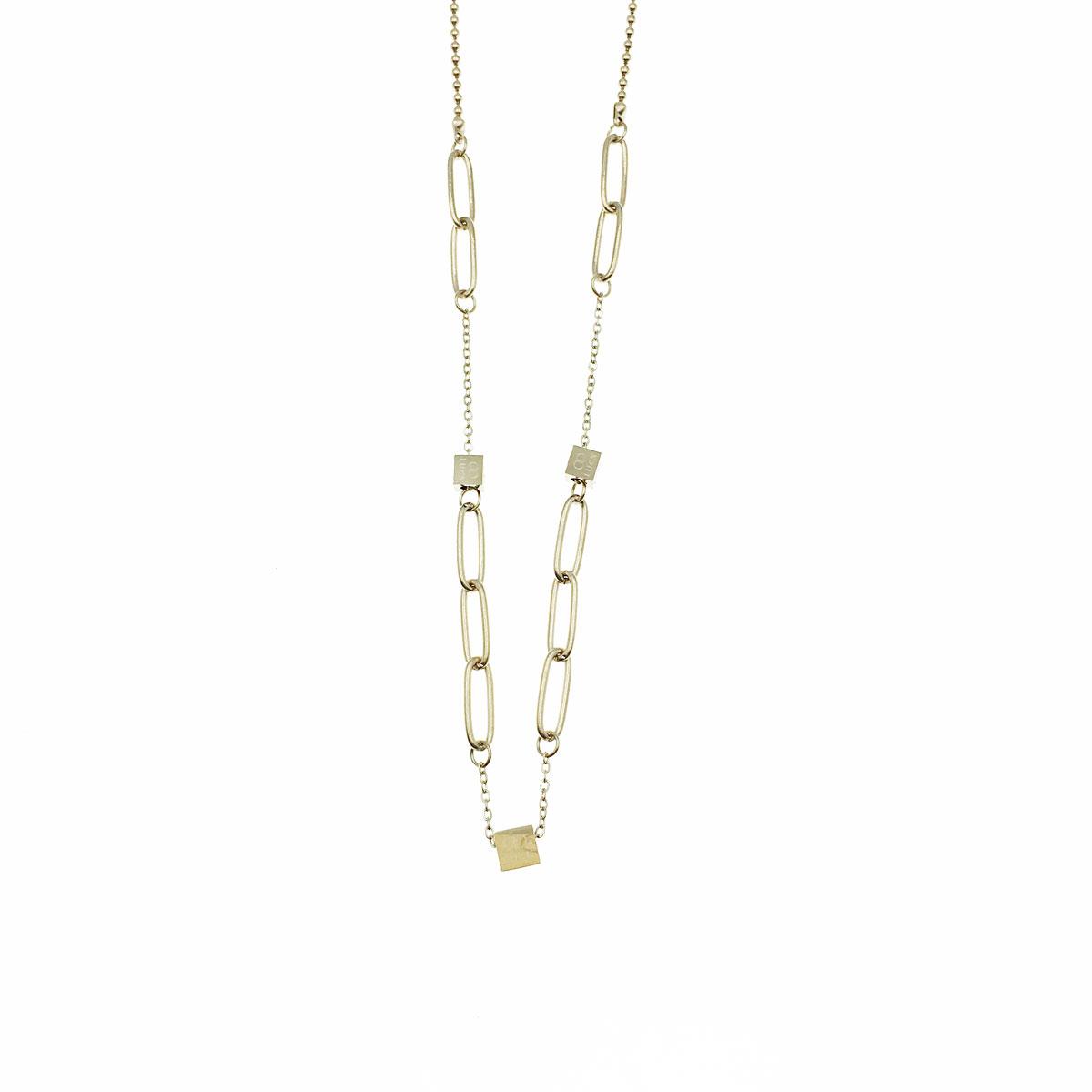 韓國 不銹鋼 英文 立體方形 鎖骨鍊 短鍊 項鍊 飾品