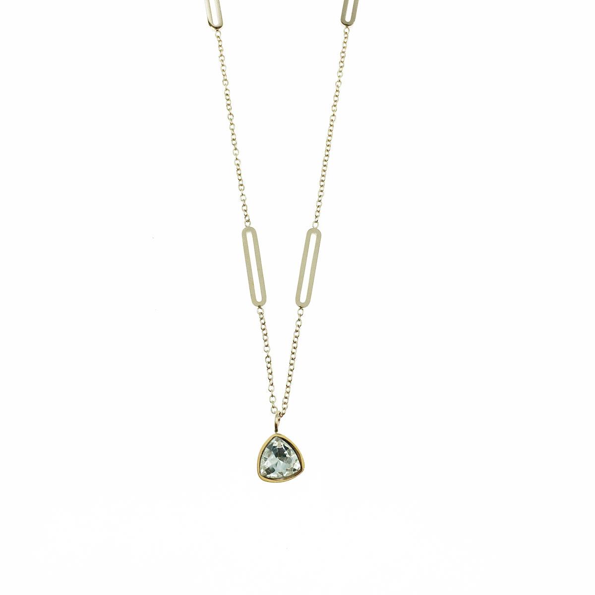 韓國 不銹鋼 水鑽 三角型 鎖骨鍊 短鍊 項鍊 飾品