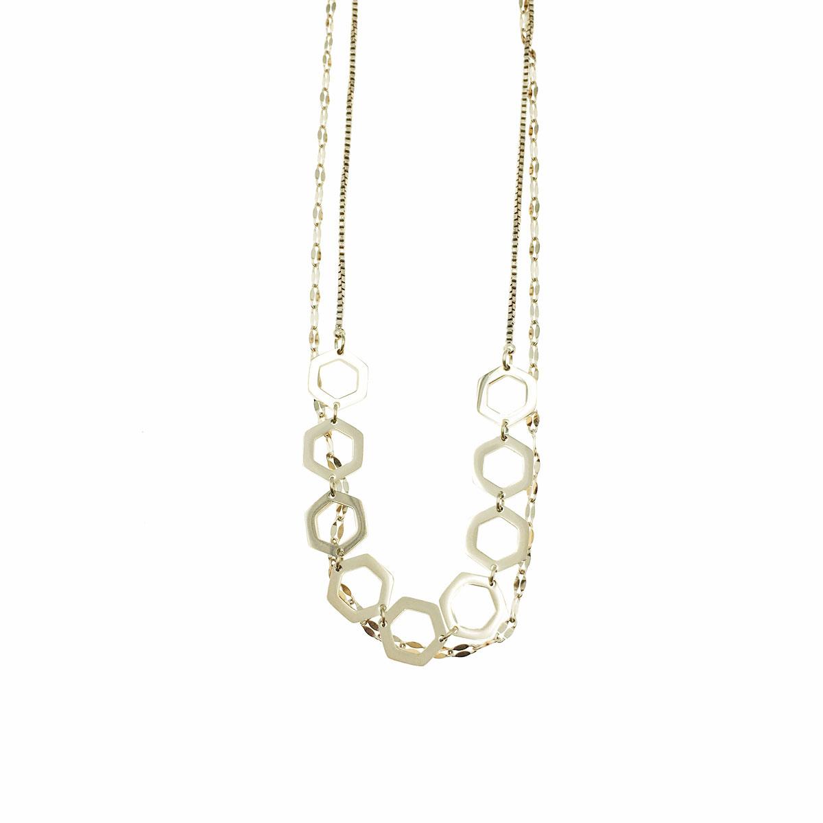 韓國 不銹鋼 六角形 簡約 鎖骨鍊 短鍊 項鍊 飾品