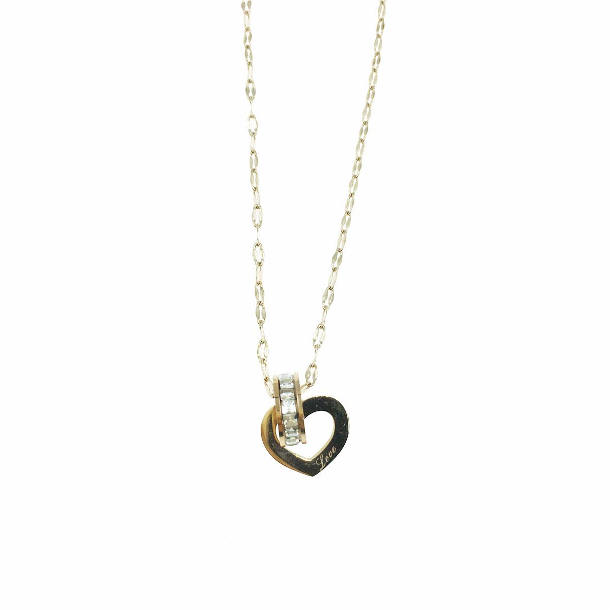 韓國 不銹鋼 水鑽 愛心 英文 圓 鎖骨鍊 短鍊 項鍊 飾品