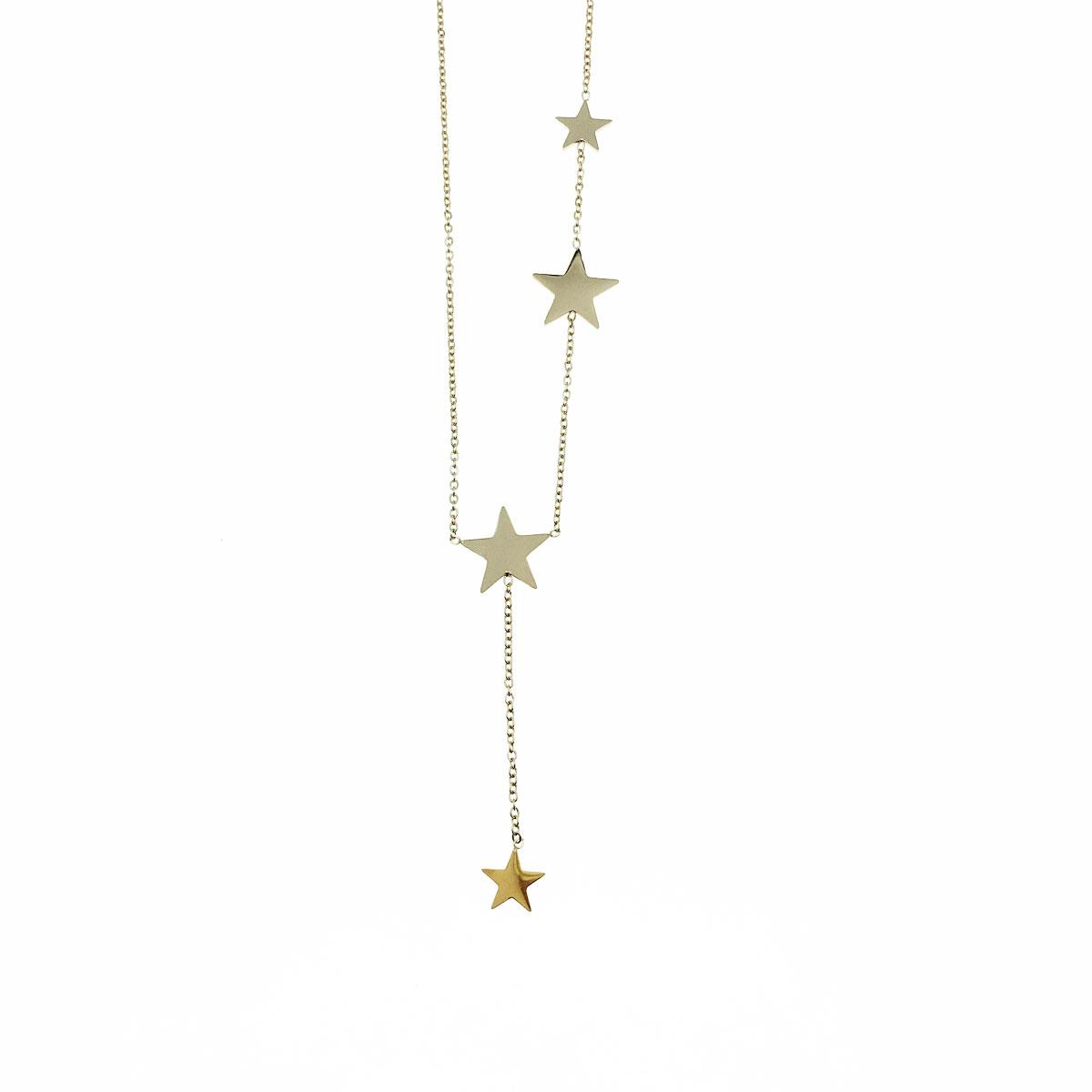 韓國 不銹鋼 星星 垂墜感 金屬間約 鎖骨鍊 短鍊 項鍊 飾品