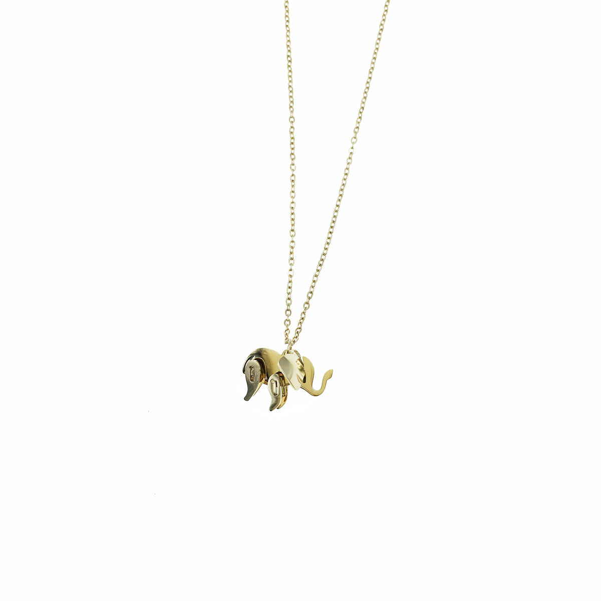 韓國 不銹鋼 大象 立體 金屬感 鎖骨鍊 短鍊 項鍊 飾品