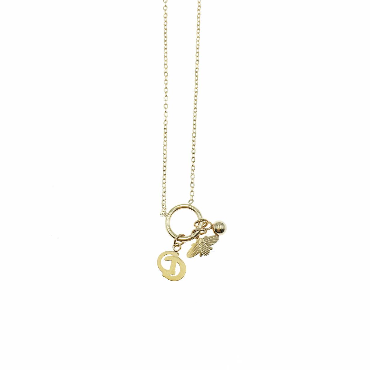 韓國 不銹鋼 蜜蜂 DC 球 鎖骨鍊 短鍊 項鍊 飾品