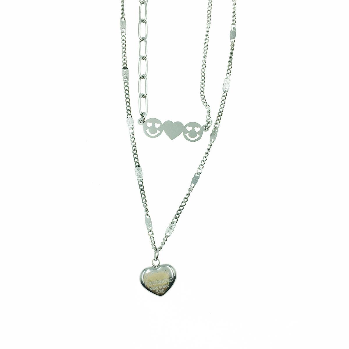韓國 不銹鋼 愛心 笑臉 微笑 英文 鎖骨鍊 短鍊 項鍊 飾品