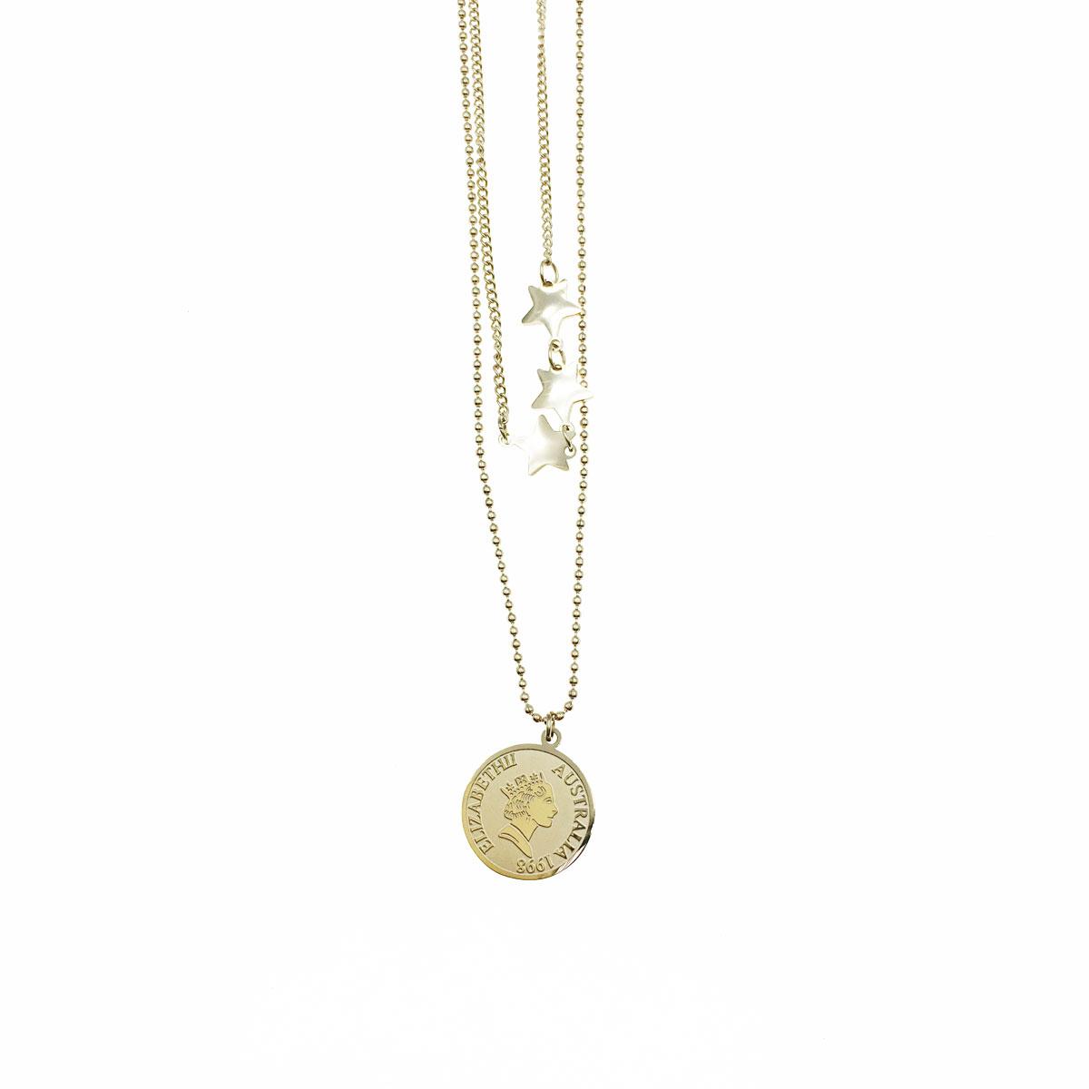 韓國 不銹鋼 星星 女王 鎖骨鍊 短鍊 項鍊 飾品
