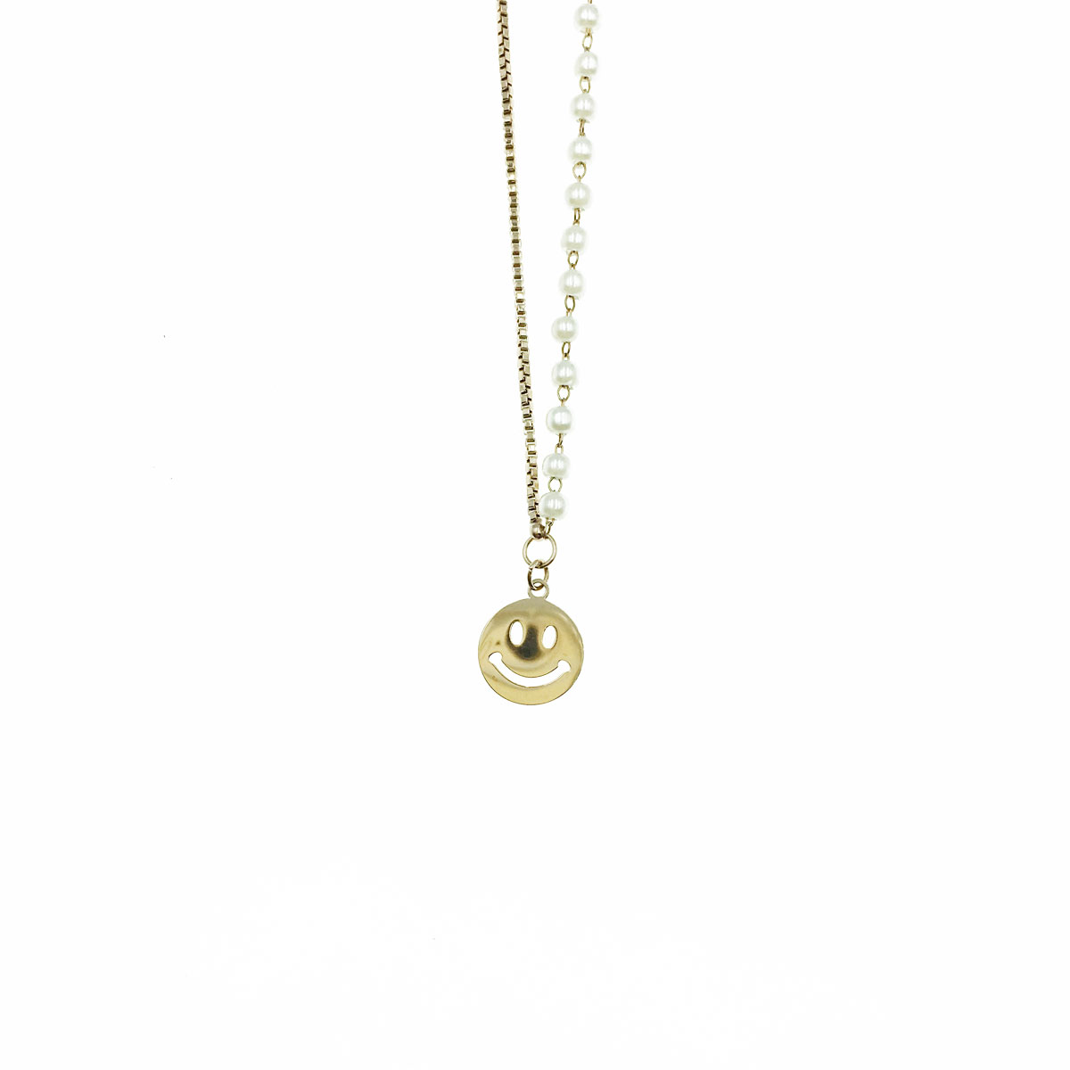 韓國 不銹鋼 珍珠 微笑 簍空 鎖骨鍊 短鍊 項鍊 飾品