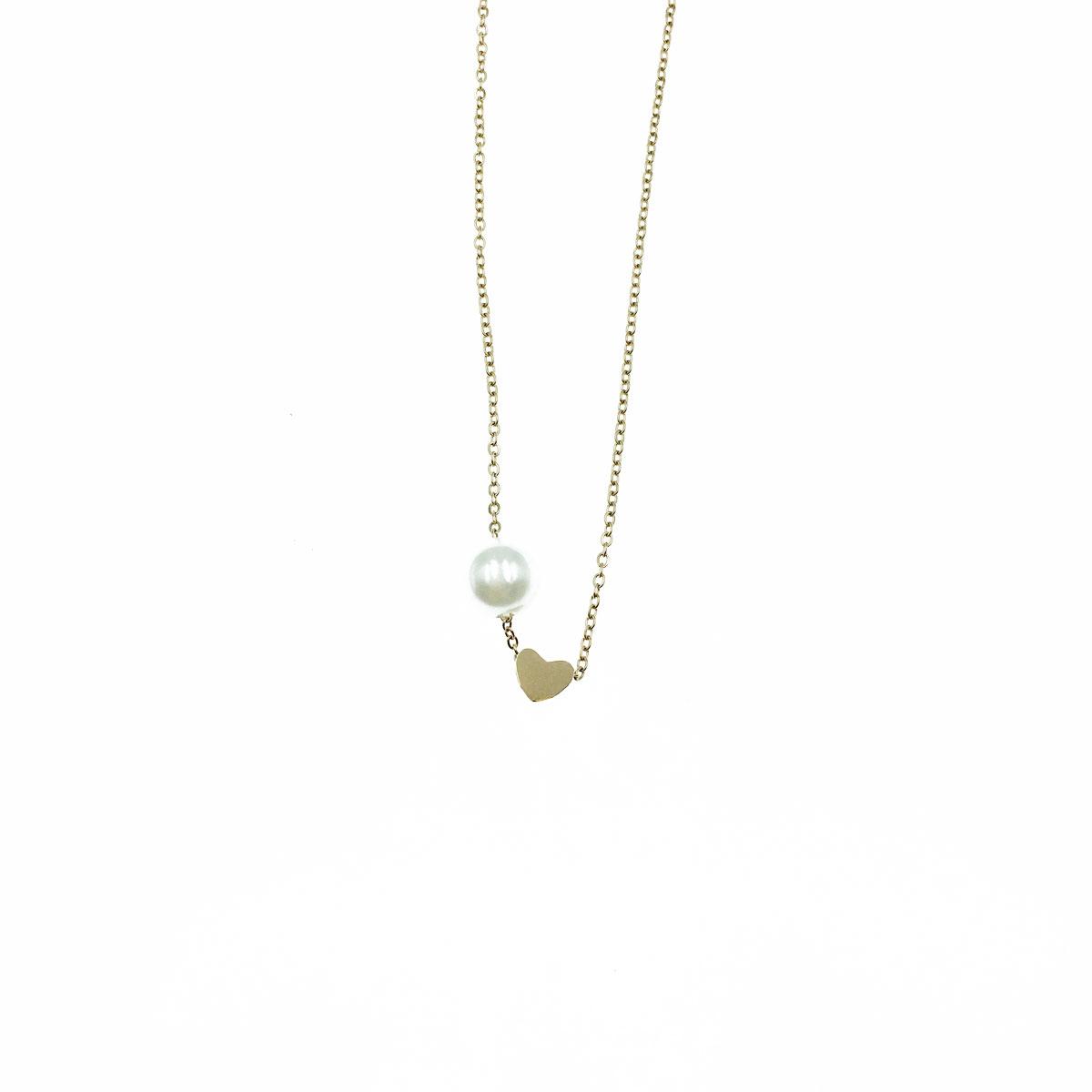 韓國 不銹鋼 珍珠 愛心 簡約 鎖骨鍊 項鍊 短鍊 飾品