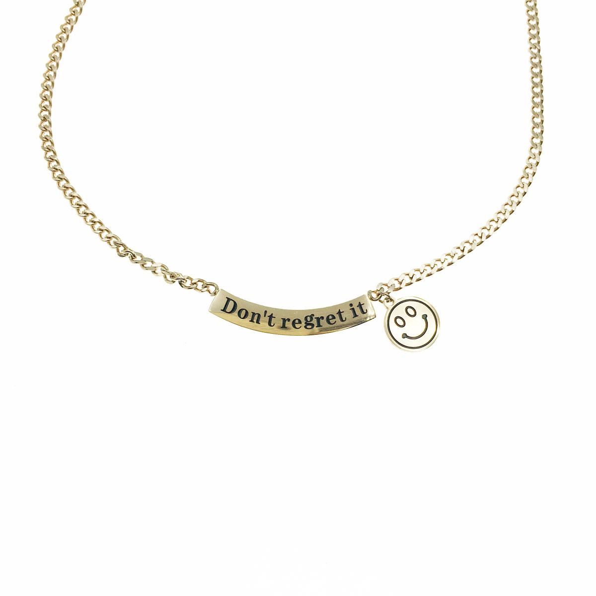 韓國 不銹鋼 微笑 笑臉 英文 鎖骨鍊 短鍊 項鍊 飾品