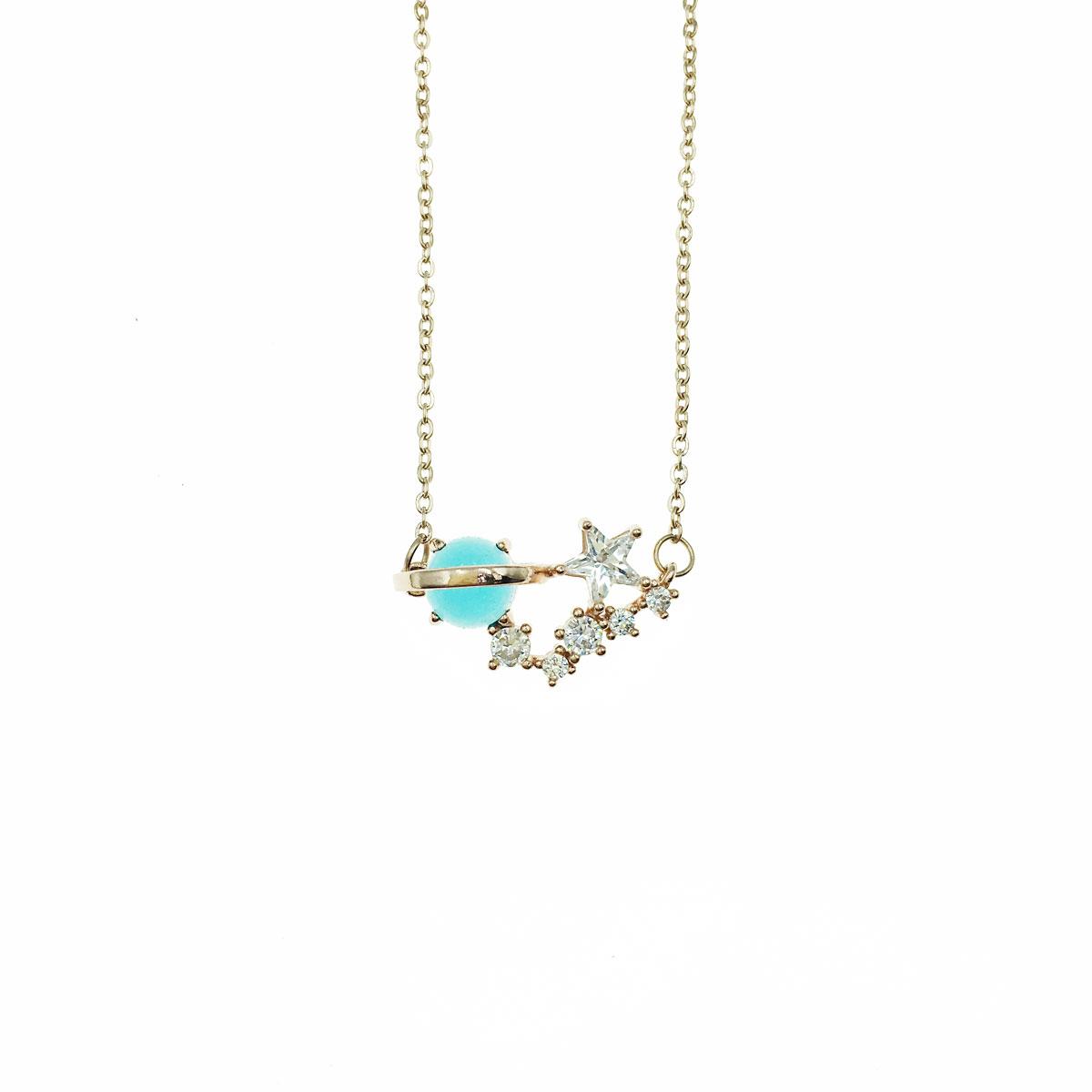 韓國 不銹鋼 水鑽 星星 星球 鎖骨鍊 短鍊 項鍊 飾品