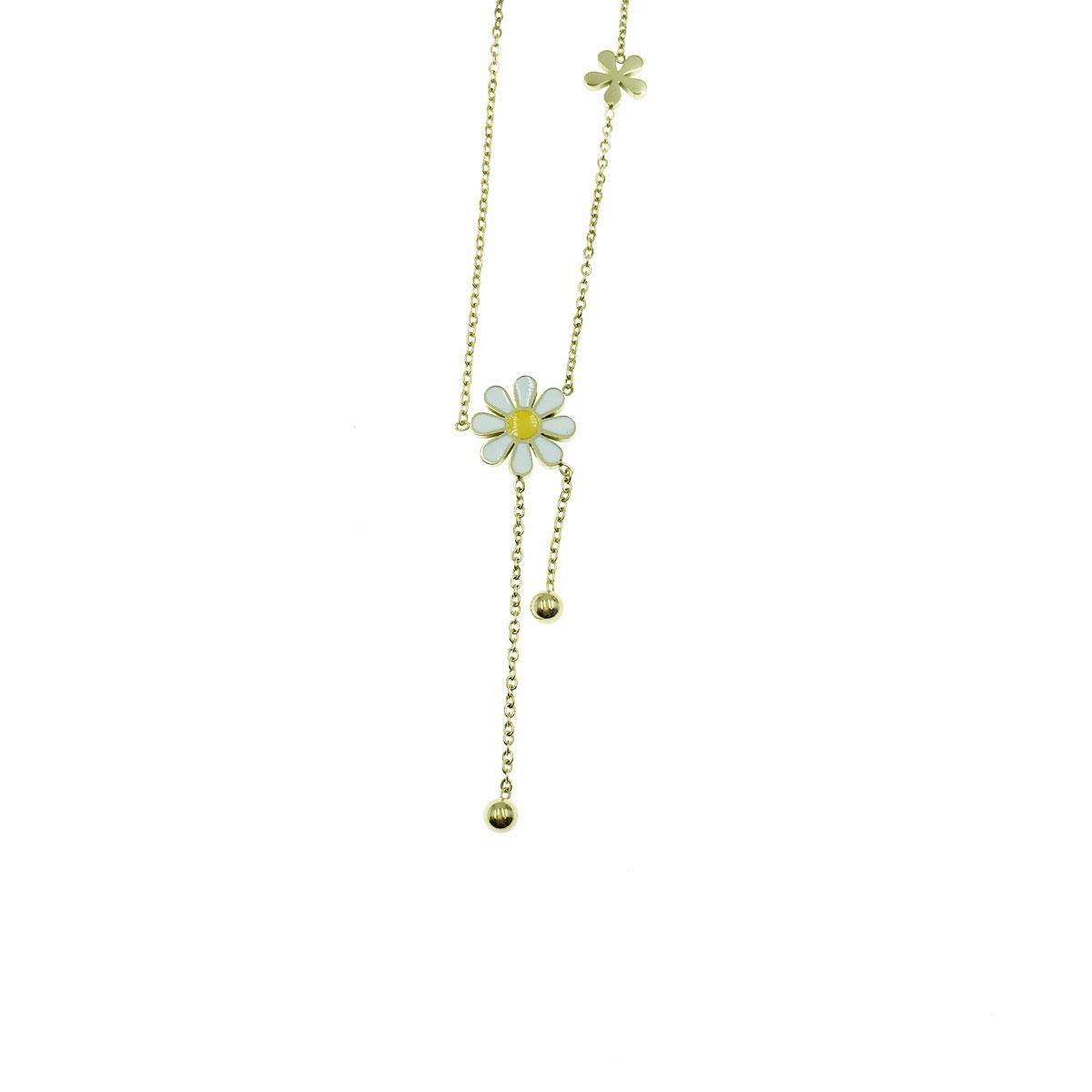 韓國 不銹鋼 花花 球 垂墜感 鎖骨鍊 短鍊 項鍊 飾品