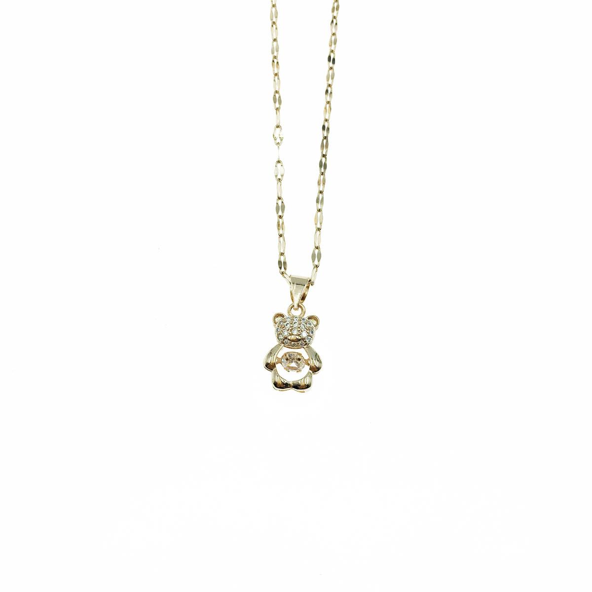 韓國 不銹鋼 小熊 水鑽 簍空 鎖骨鍊 短鍊 項鍊 飾品