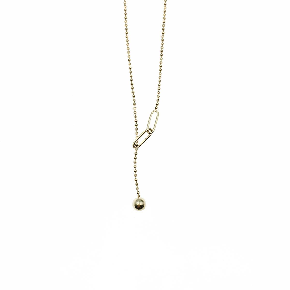 韓國 不銹鋼 球 簡約 金屬感 鎖骨鍊 短鍊 項鍊 飾品