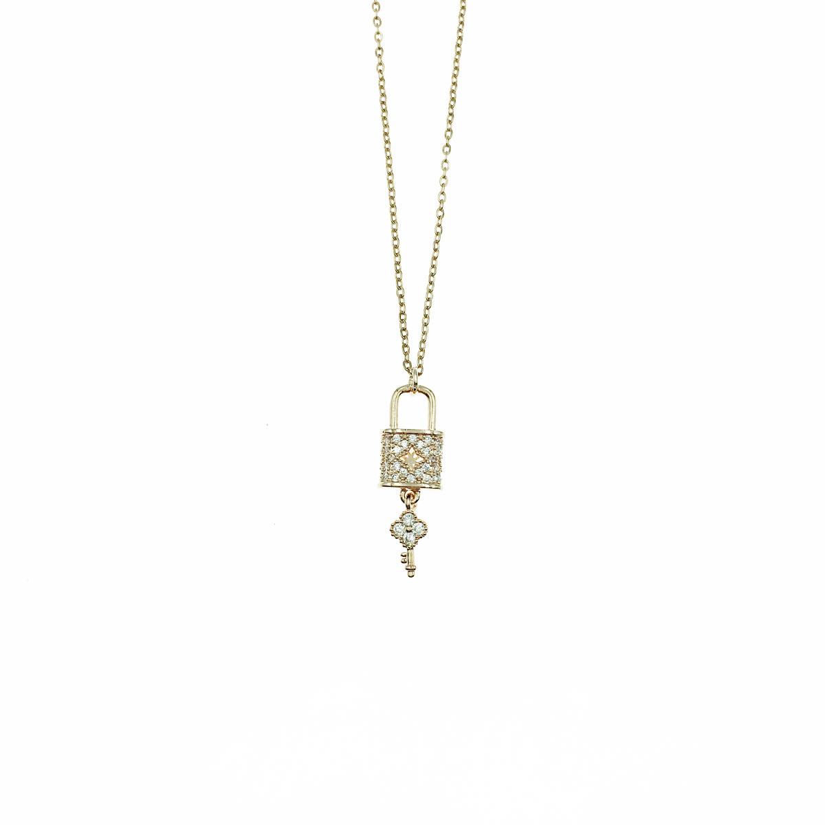 韓國 不銹鋼 水鑽 鎖 鑰匙 鎖骨鍊 短鍊 項鍊 飾品