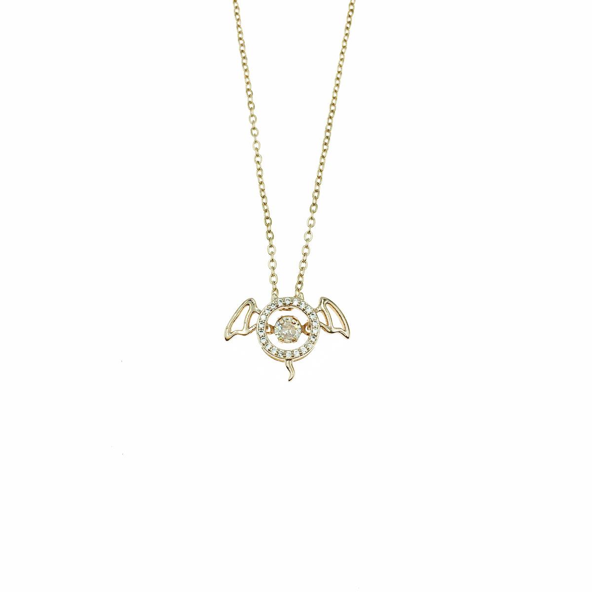 韓國 不銹鋼 水鑽 簍空 小惡魔 翅膀 鎖骨鍊 短鍊 項鍊 飾品