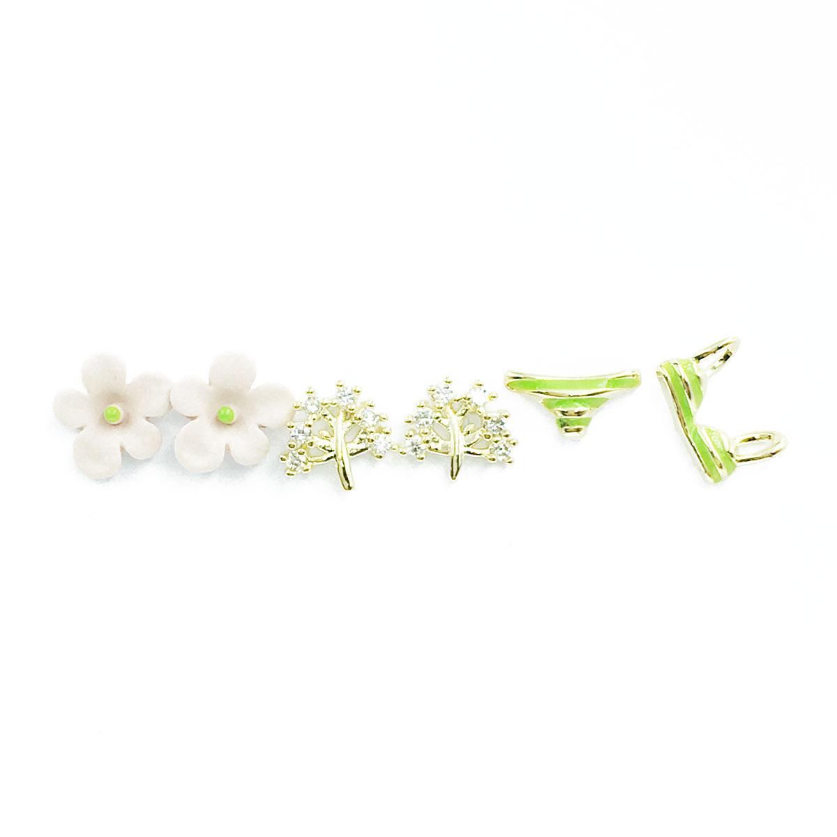 韓國 925純銀 水鑽 花朵 小樹 泳衣 多入組 耳針式 耳環
