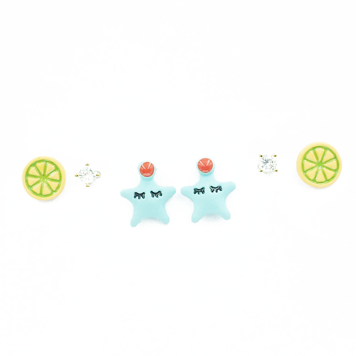 韓國 925純銀 水果 星星 水鑽 多入組 同款二入 耳針式 耳環
