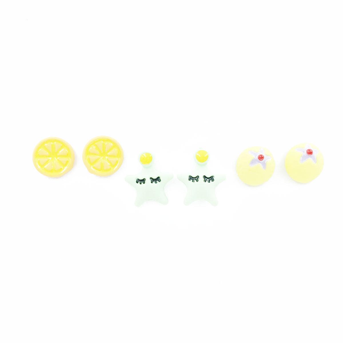 韓國 925純銀 水果 星星 多入組 同款二入 耳針式 耳環