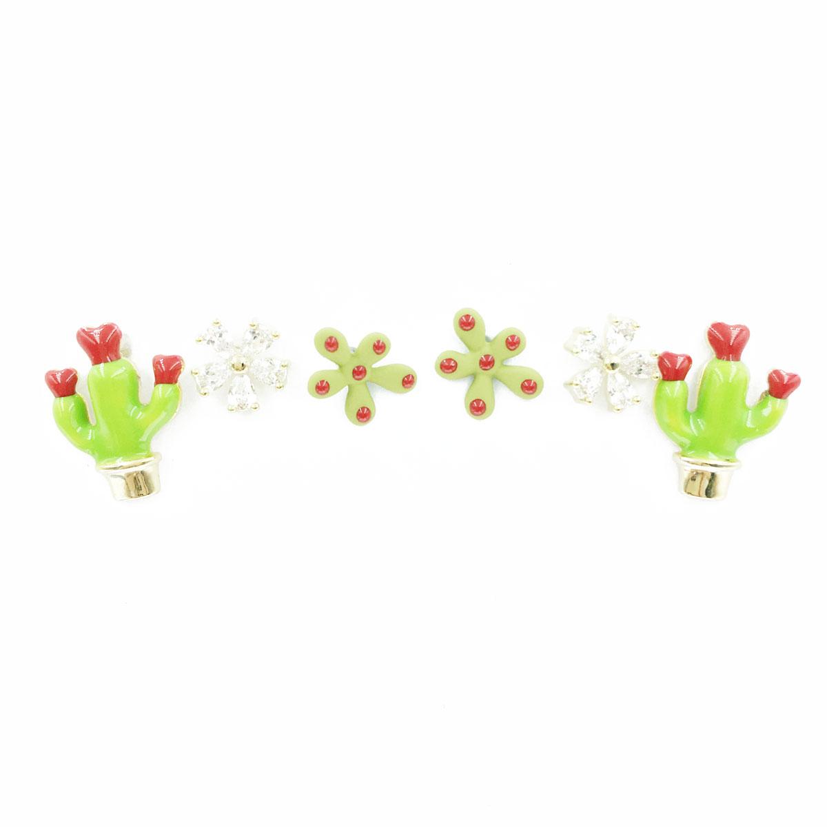 韓國 925純銀 水鑽 花朵 仙人掌 多入款 同款二入 耳針式 耳環
