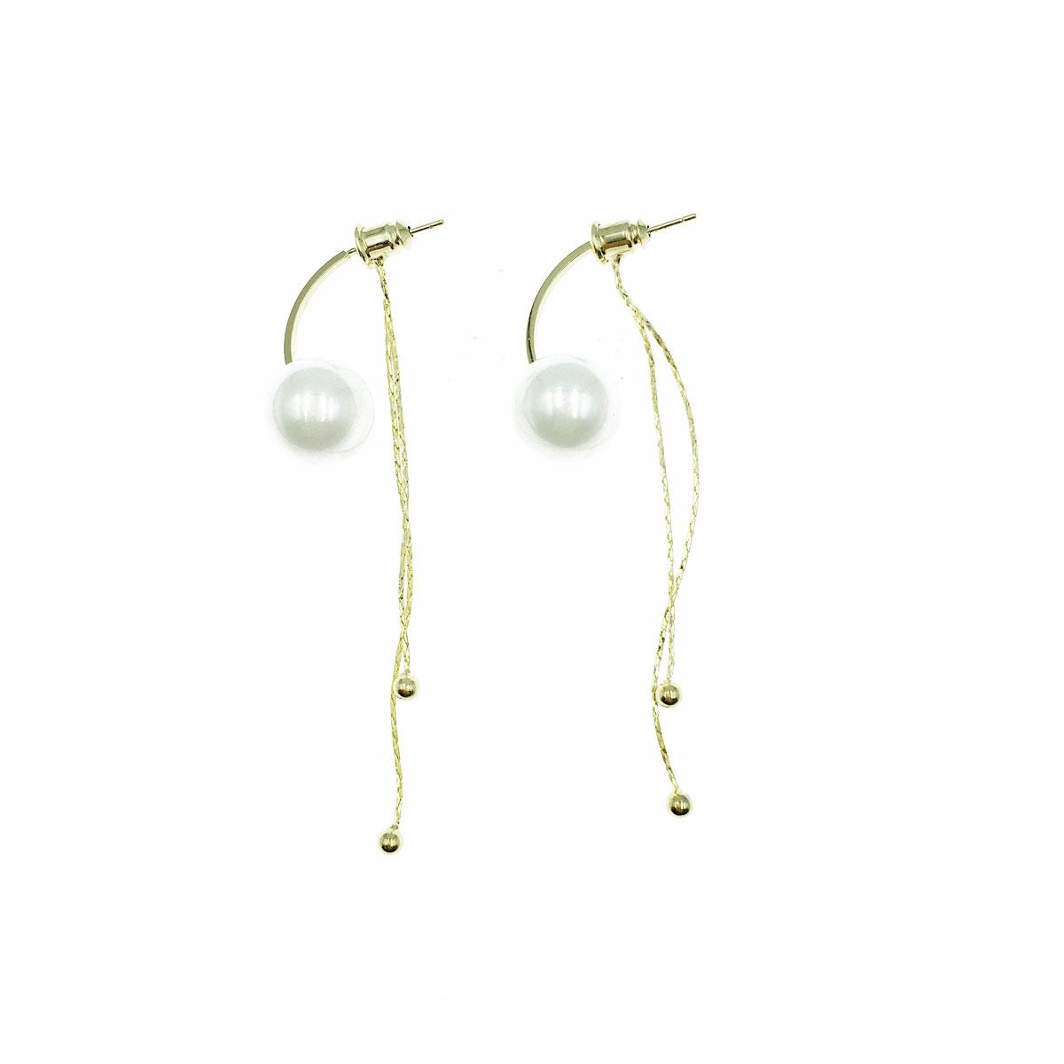 韓國 925純銀 珍珠 後扣式 垂墜感 耳針式 耳環