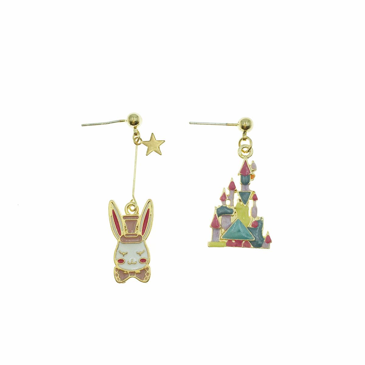韓國 925純銀 星星 兔子 城堡 不對稱 垂墜感 耳針式 耳環