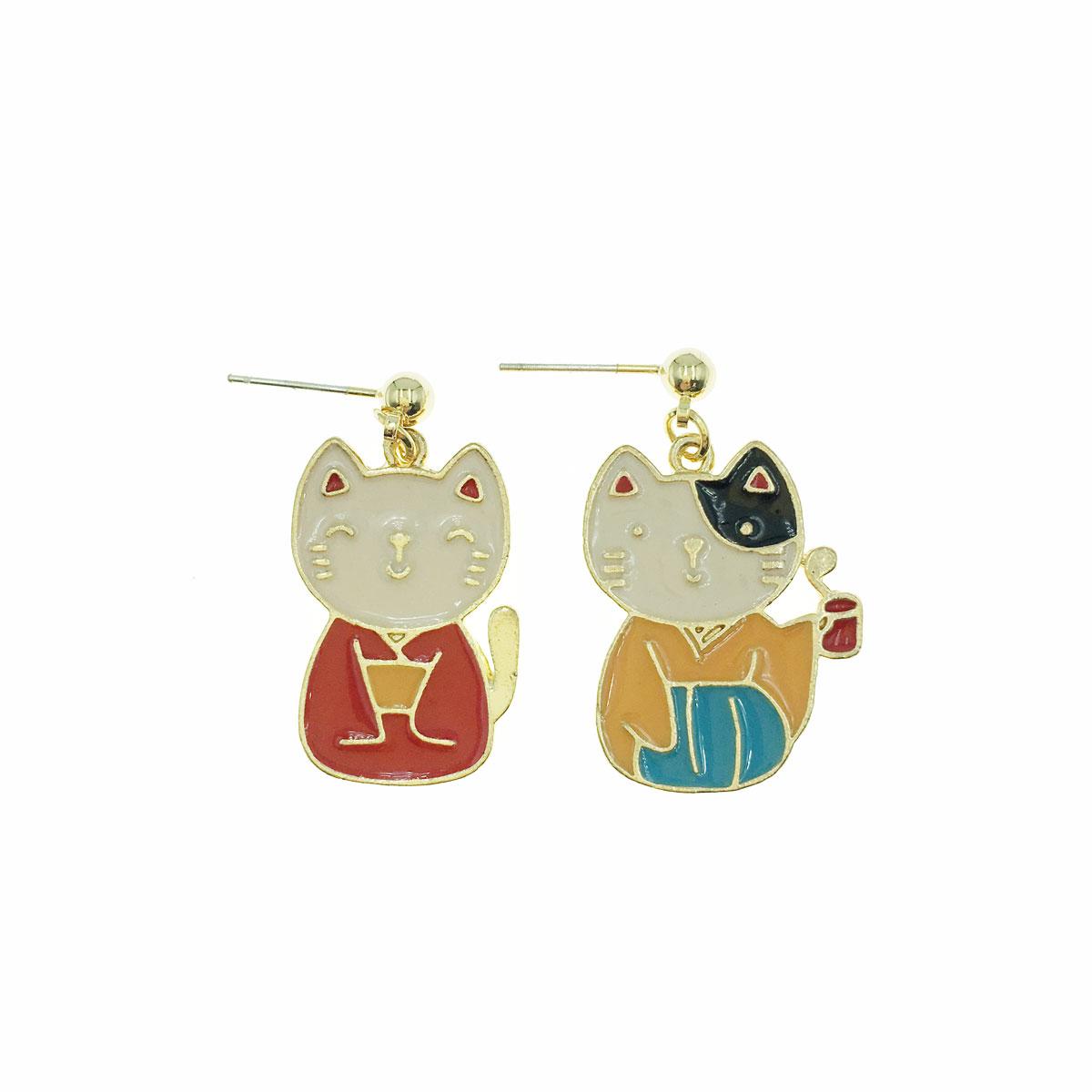 韓國 925純銀 和服 貓咪 不對稱 耳針式 耳環