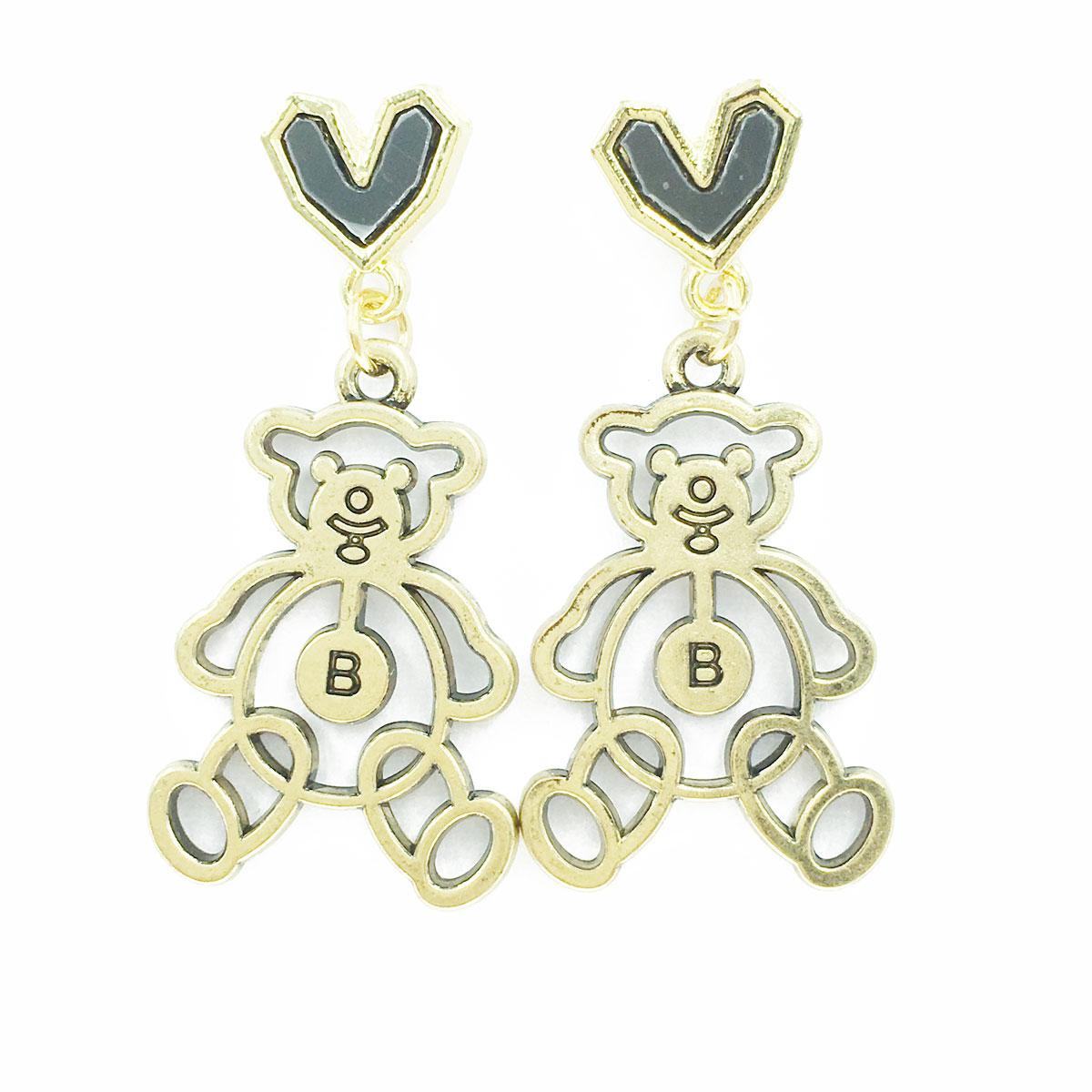 韓國 925純銀 小熊 B 簍空 黑愛心 垂墜感 耳針式 耳環