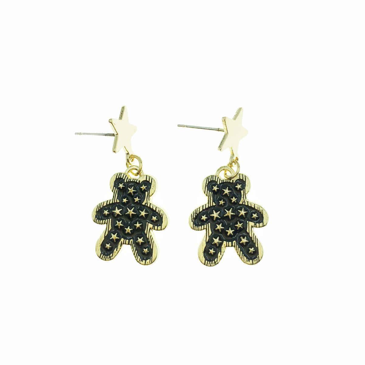韓國 925純銀 星星 小熊 金邊 垂墜感 耳針式 耳環