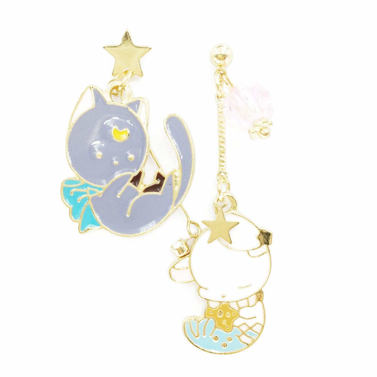 韓國 925純銀 水鑽 星星 貓咪 兔子 不對稱 垂墜感 耳針式 耳環