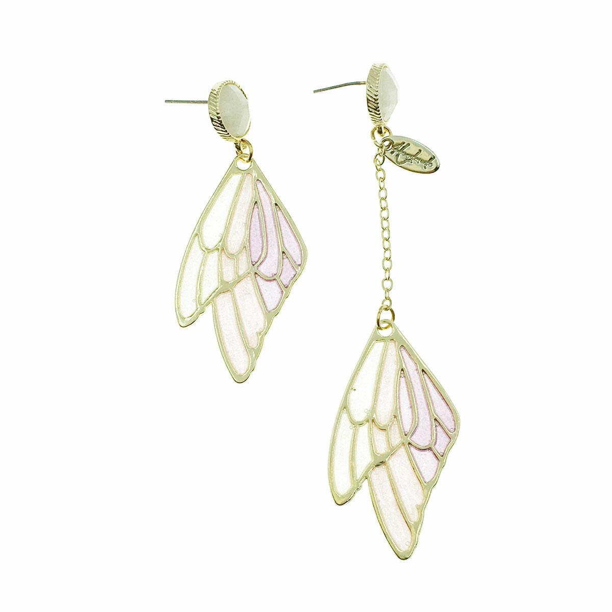 韓國 925純銀 翅膀 英文 金邊 不對稱 垂墜感 耳針式 耳環