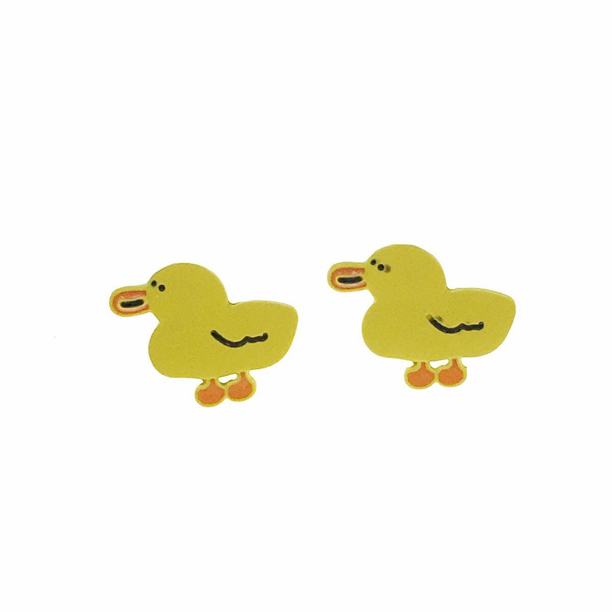 韓國 925純銀 小鴨 可愛 耳針式 耳環