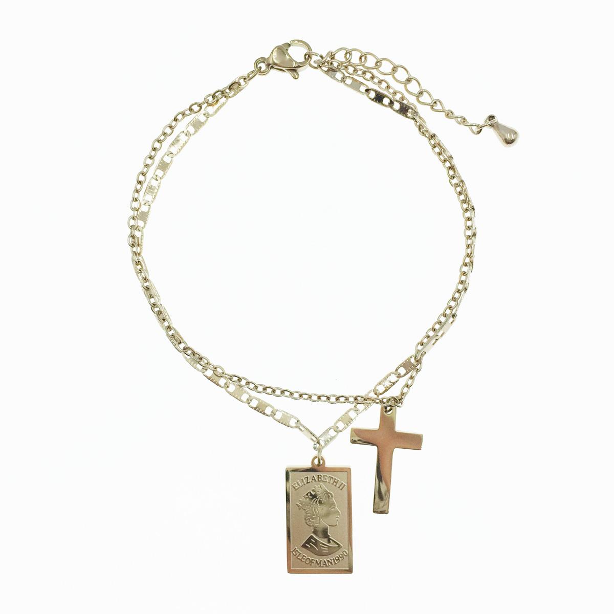 韓國 不鏽鋼 十字架 ELIZABETH II頭像 垂墜感 手鍊