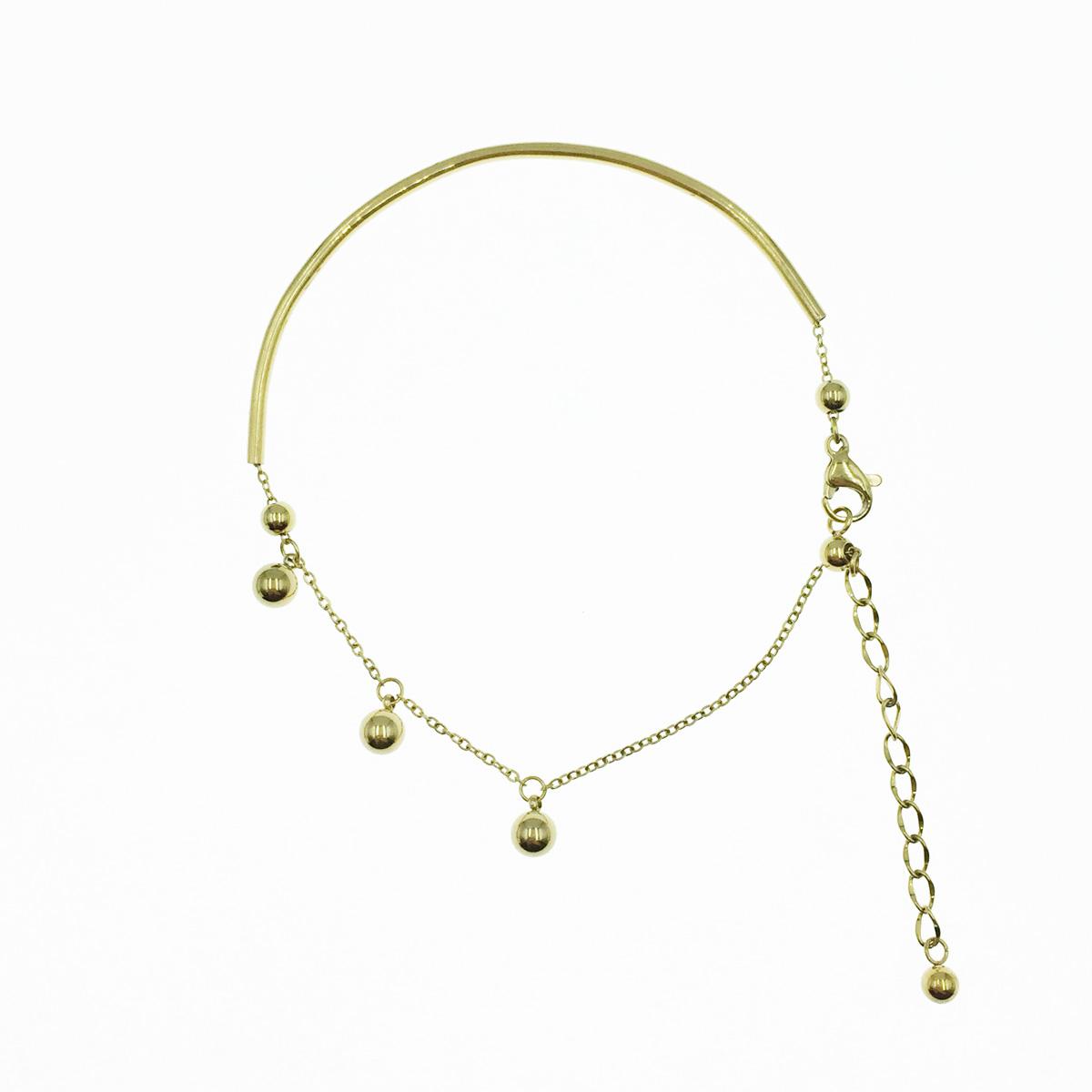 韓國 不鏽鋼 珠珠 垂墜感 金色 簡約 手鍊