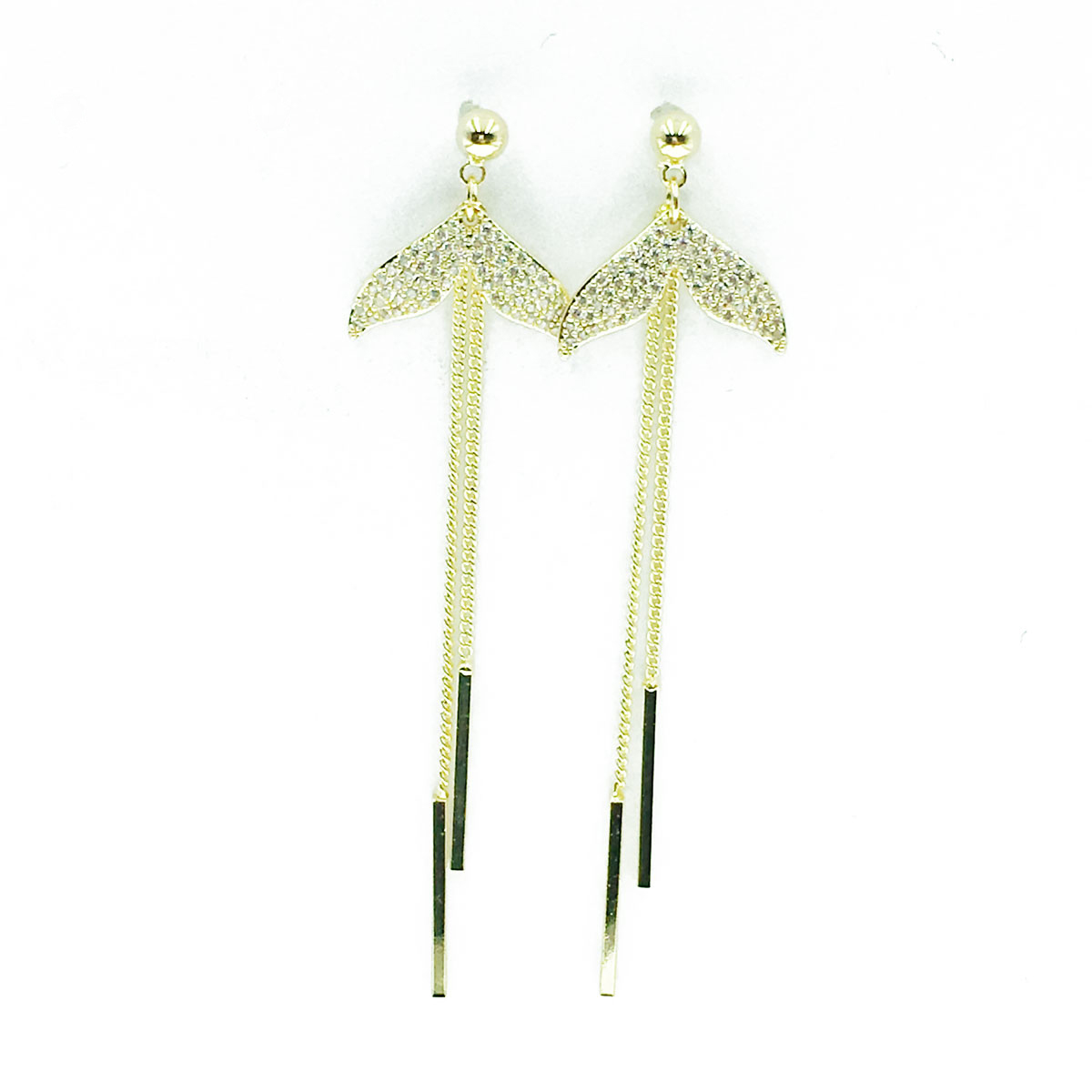 韓國 925純銀 人魚尾巴 水鑽 垂墜感 耳針式 耳環