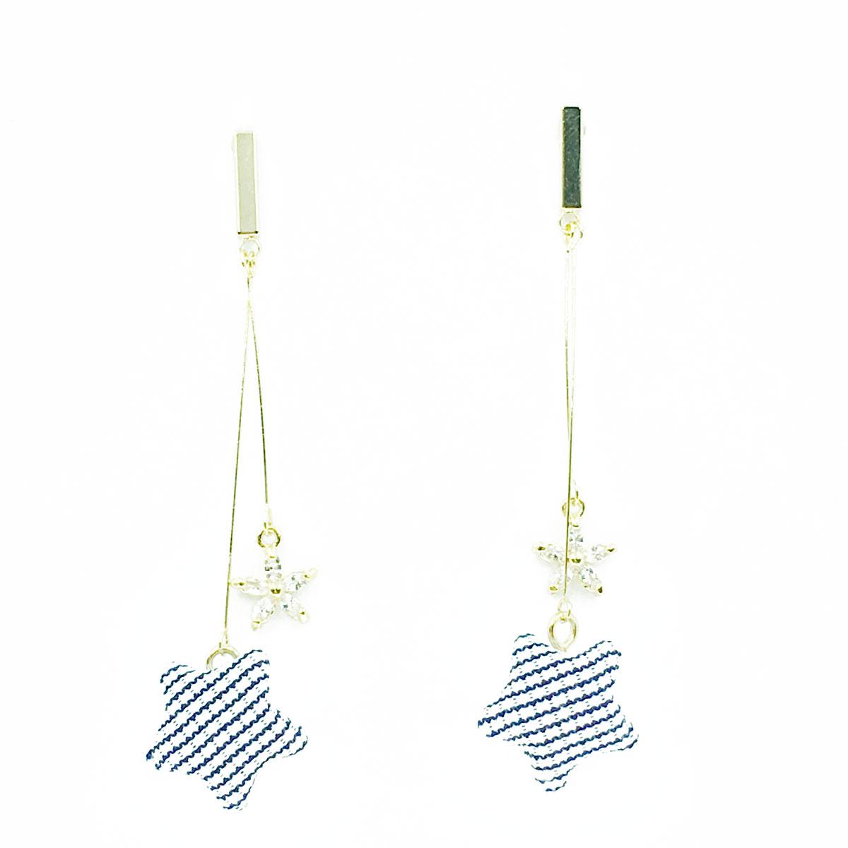 韓國 925純銀 水鑽 花朵 星星 垂墜感 耳針式 耳環
