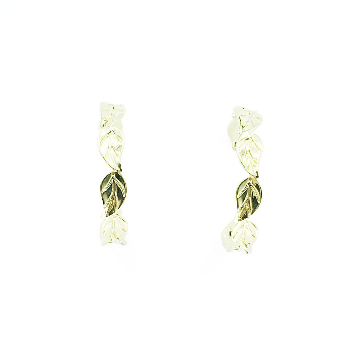 韓國 925純銀 葉子 金屬感 簡約 耳針式 耳環