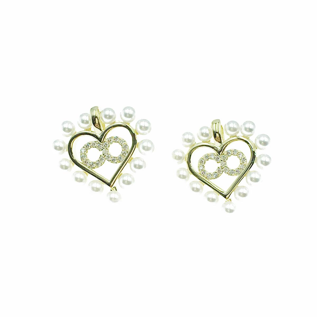 韓國 925純銀 珍珠 水鑽 愛心 耳針式 耳環