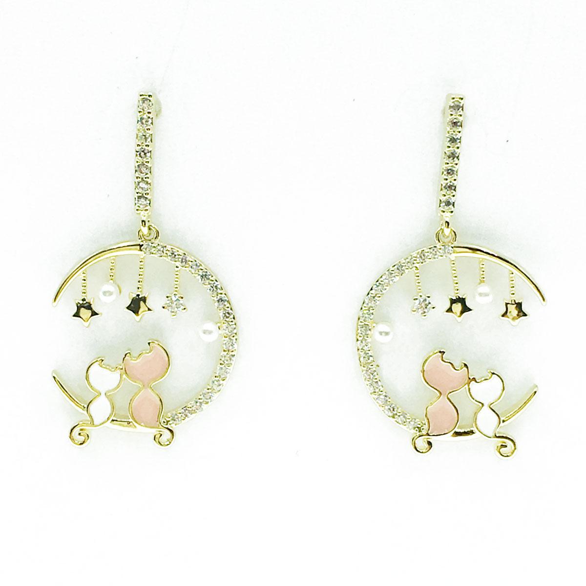 韓國 925純銀 水鑽 珍珠 貓咪 月亮 星星 垂墜感 耳針式 耳環