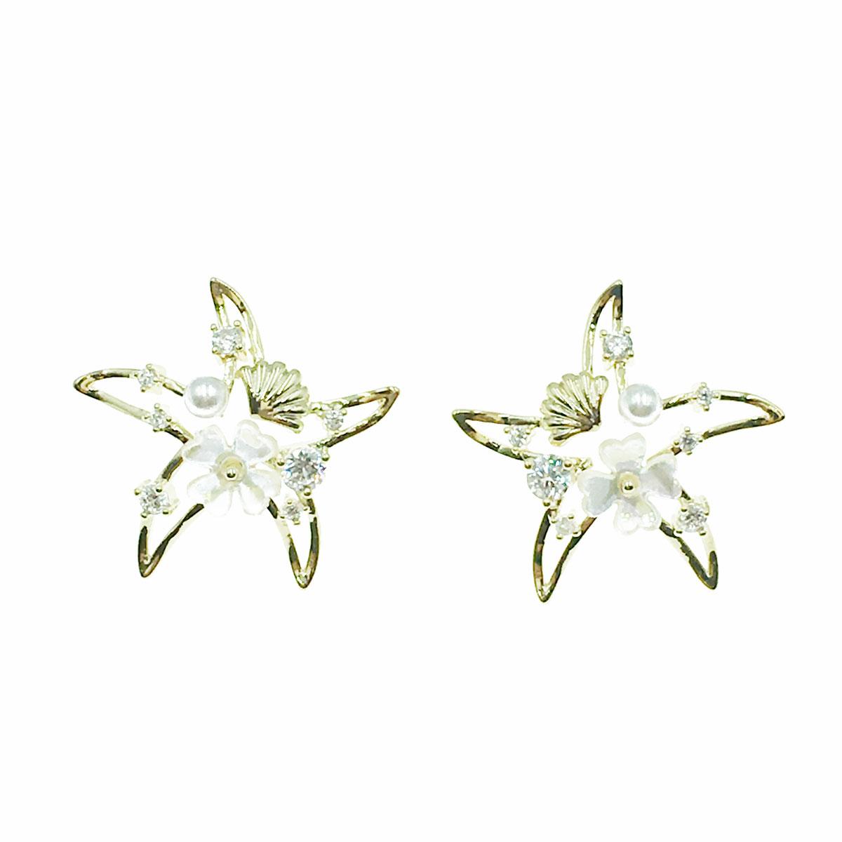 韓國 925純銀 水鑽 珍珠 花朵 貝殼 海星 簍空 耳針式 耳環