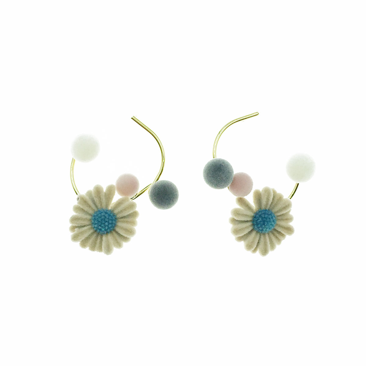 韓國 925純銀 絨毛 花朵 球球 耳針式 耳環