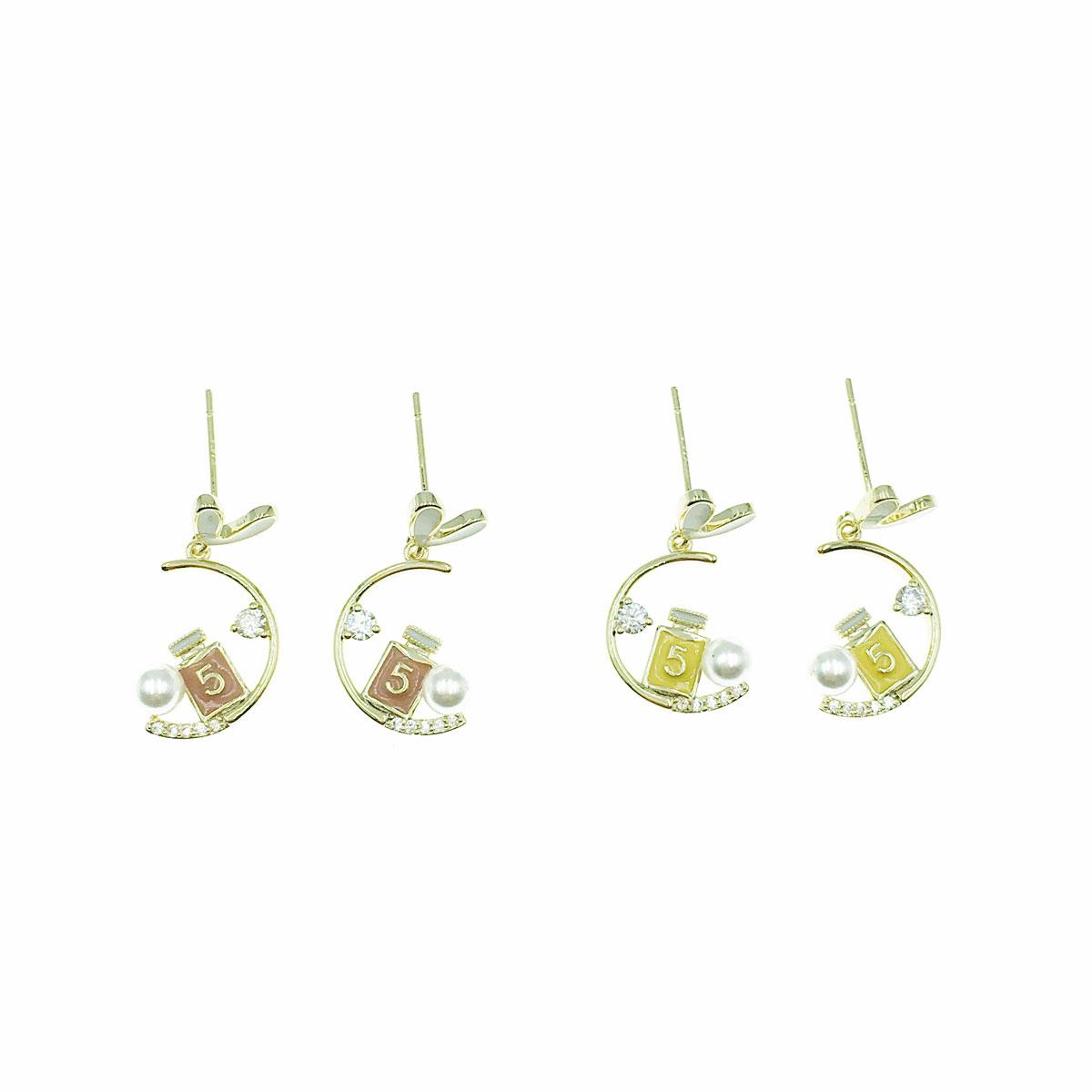 韓國 925純銀 水鑽 珍珠 愛心 小香瓶 垂墜感 兩色 耳針式 耳環