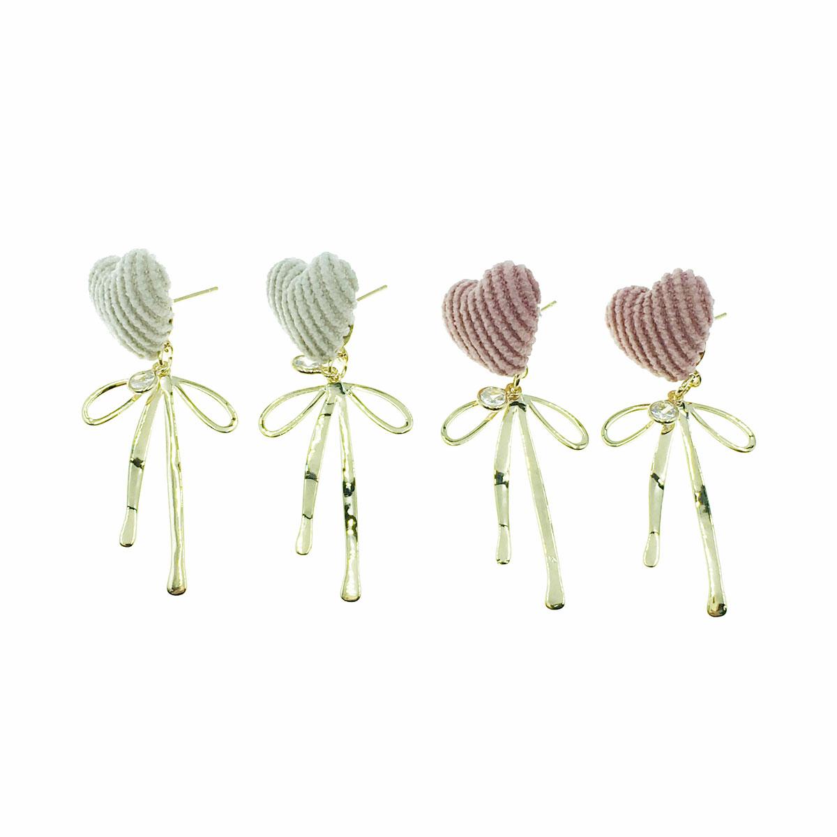 韓國 925純銀 絨毛 愛心 水鑽 蝴蝶結 垂墜感 兩色 耳針式 耳環
