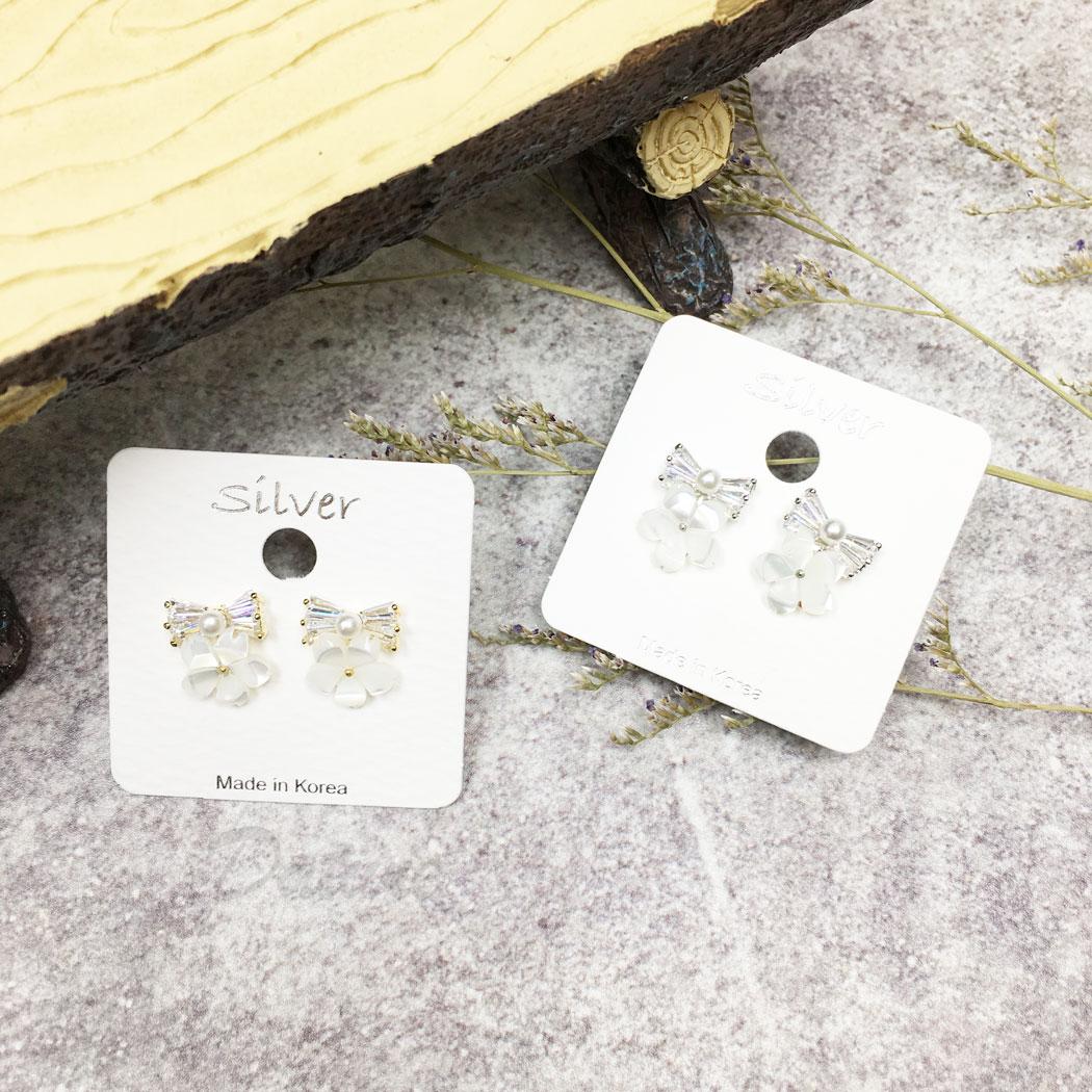 韓國 925純銀 水鑽 珍珠 蝴蝶結 花朵 兩色 耳針式 耳環