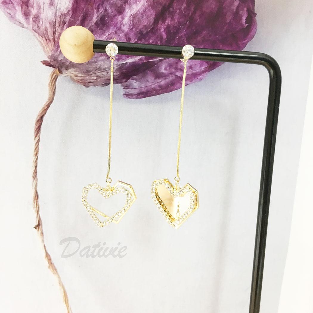 韓國 925純銀 水鑽 愛心 簍空 不對稱 垂墜感 耳針式 耳環